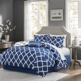 Navy Blue Fretwork Comforter Set - Queen Size
