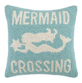 Mermaid Crossing Light Blue Pillow