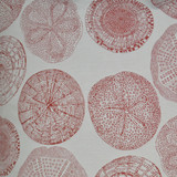 Embossed Sand Dollar Pillow - Red fabric close up