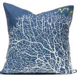 Navy Ocean Sea Fan Luxury Pillow