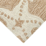 Starfish Tan and Ivory Area Rug corner close up 2