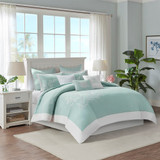 Aqua Blue Coastline Duvet Collection - King Size room view 1