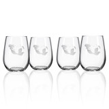 Mermaid Etched Wine Tumblers - Set of 4