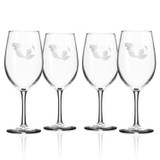 Mermaid Etched Large Wine Glasses - Set of 4