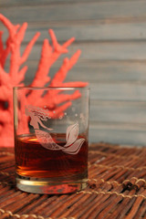 Mermaid Etched Double Old Fashioned Glasses beauty image