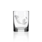 Mermaid Etched Double Old Fashioned Glasses - single image
