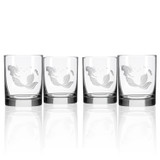 Mermaid Etched Double Old Fashioned Glasses - Set of 4