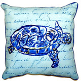 Blue Sea Turtle Script Pillow