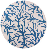 Blue Coral Reef Hand Hooked Rug round image