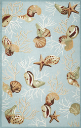 Light Blue Coral Reef Hooked Rug