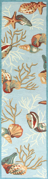 Light Blue Coral Reef Wool Hooked Rug runner size