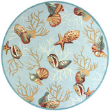 Light Blue Coral Reef Wool Hooked Rug round size