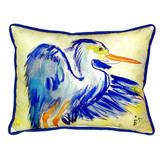 Watercolor Teal Blue Heron Pillow