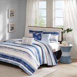 Marina Watercolor Striped Coverlet Set - Queen Size view 2
