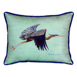 Teal Blue Heron Indoor-Outdoor Pillow
