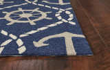 Navy Blue Rope and Anchor Marina Area Rug  corner image