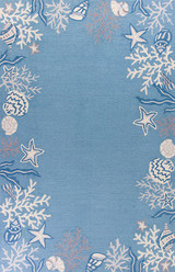 Sea Blue Coastal Hand-Hooked Rug
