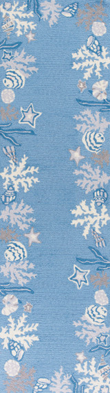 Sea Blue Coastal Hand-Hooked Rug runner image