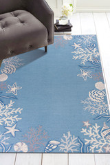 Sea Blue Coastal Hand-Hooked Rug room image