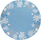 Sea Blue Coastal Hand-Hooked Rug round rug