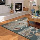 Seafoam Waves of Shells Hooked Rug room view 2
