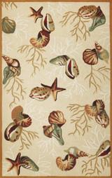 Beige Coral Reef Hooked Rug main image