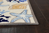 Ivory Seashore Hooked Rug corner image