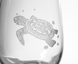 Sea Turtle Stemless Wine Tumblers - Set of 4 close up