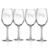 Sea Turtle Etched 12 oz. Wine Goblets - Set of 4