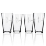 Fly Fishing Etched Pint Glasses - Set of 4