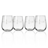 Fly Fishing Etched Stemless Wine Glasses - set of 4