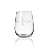 Fly Fishing Etched Stemless Wine Glasses - set of 4 single glass