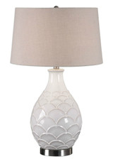 Camellia Glossed White Table Lamp