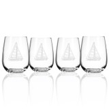 Sailboat Stemless Wine Tumblers - Set of 4