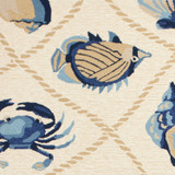 Harbor Ivory and Blue Sealife Rug close up 1