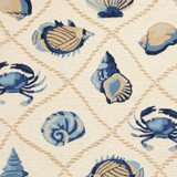 Harbor Ivory and Blue Sealife Rug close up 2