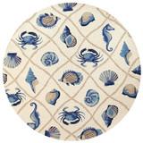 Harbor Ivory and Blue Sealife Rug round image