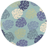 Turquoise and Blue Palms Indoor-Outdoor Area Rug round