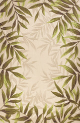 Greenery Palm Bordered Indoor-Outdoor Area Rug