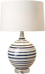 Blue Striped Tideline Lamp-light on