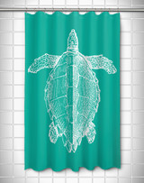 Vintage Large Sea Turtle Shower Curtain - Aqua