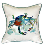 Watercolor Blue Crab Beach Cottage Pillow