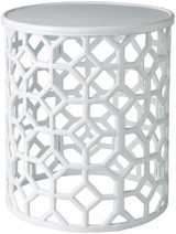 Hale Aluminum Lattice Accent Table in White