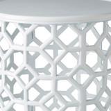 Hale Aluminum Lattice Accent Table in White close up image