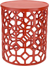 Hale Aluminum Lattice Accent Table in Coral Red