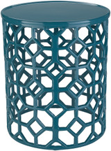 Hale Aluminum Lattice Accent Table in Teal Green
