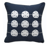 Navy Blue and White Sand Dollar Pillow