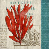 Red and Teal Coral Vintage Art No. 3