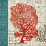 Red and Teal Coral Vintage Art No. 1