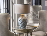 Parterre Pale Blue Table Lamp room view 2